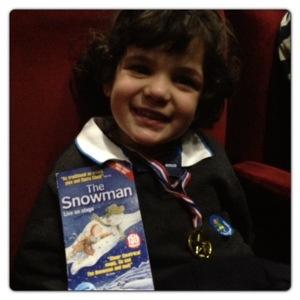 Little man waiting at the Theatre
