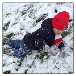 Little Man Rolling in the Snow