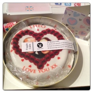Valentine's Cake with Love Hearts Sweets and Card