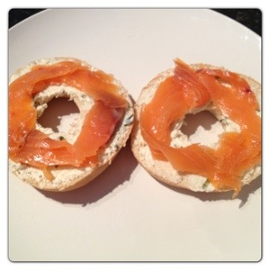 Smoked Salmon and Cream Cheese Bagels