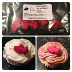 Red Double Sugar Heart Cupcake Decorations