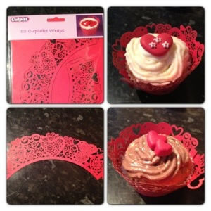 Red Heart Cupcake Wrappers