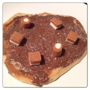 Pancake with Melted Chocolate and Sweets
