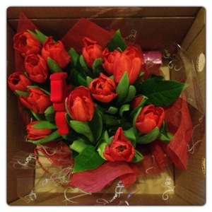 Red Dutch Tulips Bouquet