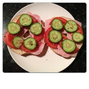 Lunch: Open Bagel Sandwich