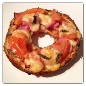 Pizza Made with Red Onion & Chive NY Bagel