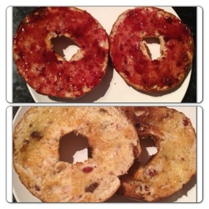 Breakfast: Fruit & Oat NY Bagel
