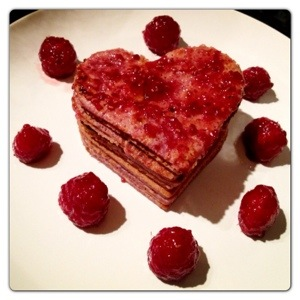Heart Shaped Raspberry Pancake Stack