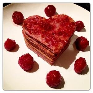Heart Shaped Raspberry Pancake Stack