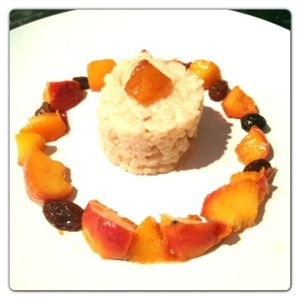 Spicy Rice Pudding with Peach & Mango Compote