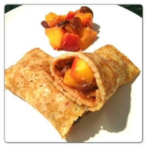 Pancake with Peach Filling