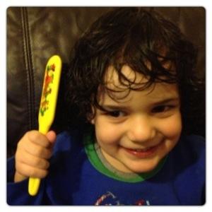 Little Man loving his Denman Tangle Tamer