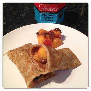Pancake with Peach and Mango Compote