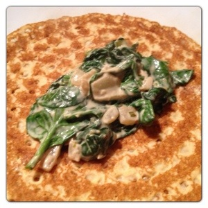 Pancake with Spinach and Cream Cheese