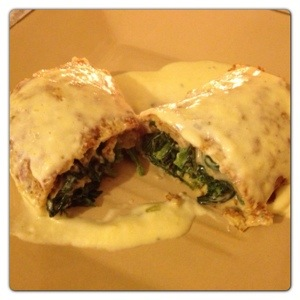 Spinach and Cream Cheese Pancakes with Cheese Sauce