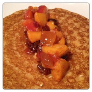 Peaches and Mango Chutney Pancake