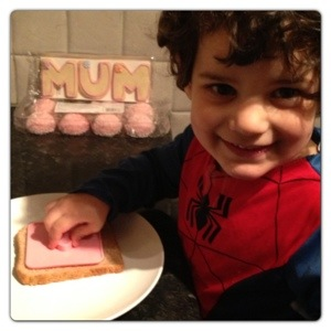 Little Man making Mother's Day Toast