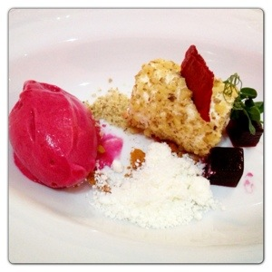 Beetroot Cinder Toffee with Goats Cheese Snowflakes