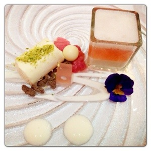 Rhubarb with Frozen Yogurt Powder and Consommé