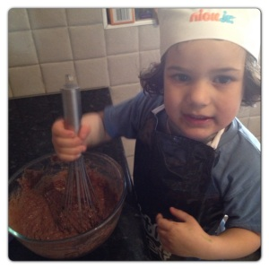 Mixing the cupcake mixture
