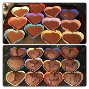 Heart Shaped Chocolate Cupcakes