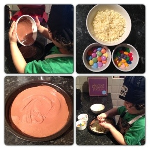 Decorating the Chocolate Pizza