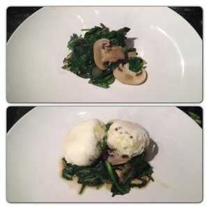 Plate up Spinach Mix then Poached Egg